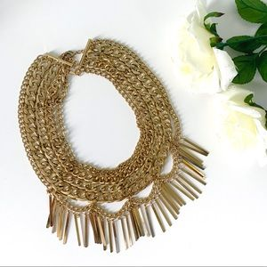 Baublebar Courtney Fringe Bib in Gold
